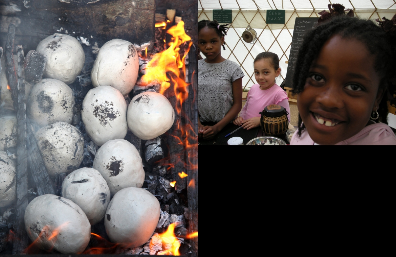 sleutelmoment aardappels klei in vuur